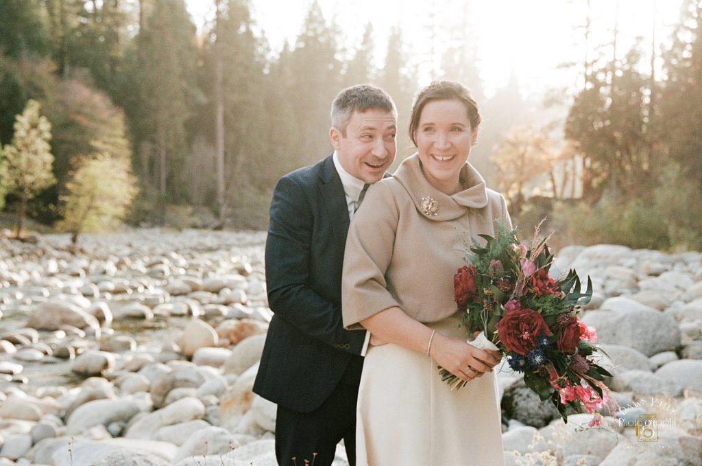 bride and groom in Yosemite vintage wedding dress